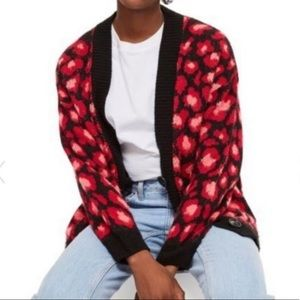 Topshop Red and Black Leopard Cardi